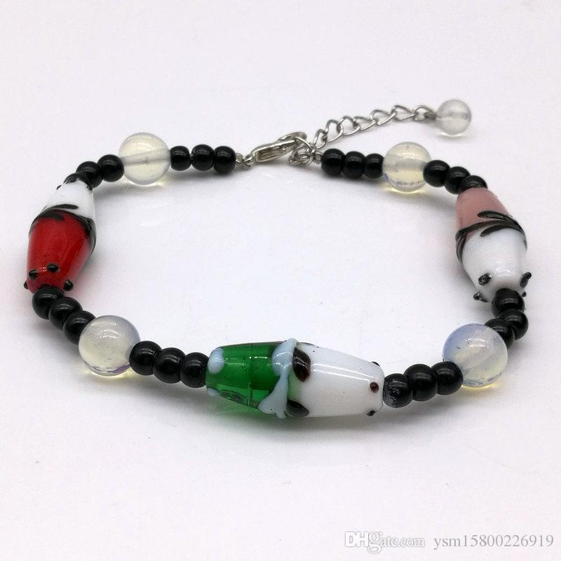 fashion protein stone flower dichroic glass bead composite bracelet DIY handmade beaded jewelry bracelet
