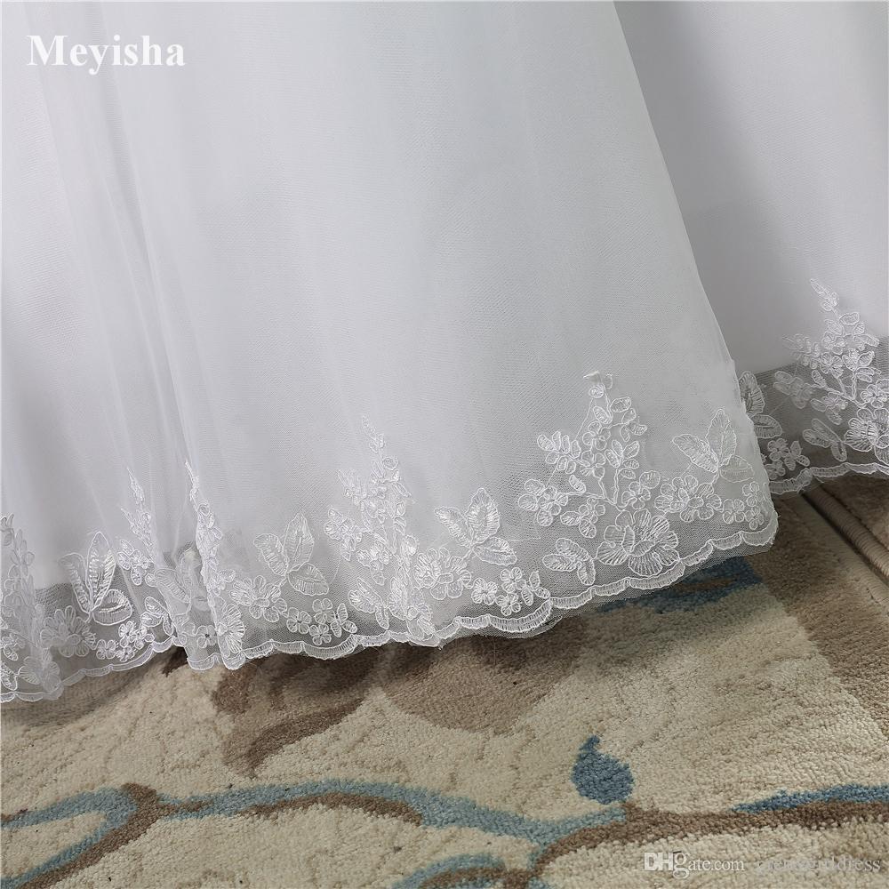 ZJ9061 2019 2020 fondo pizzo Abito avorio bianco Pizzo su schiena Abiti da sposa abito da sposa Vintage plus size Realizzato dal cliente