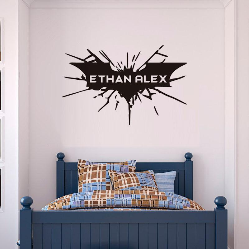 personalised bat wall sticker boys bedroom wall decals customize