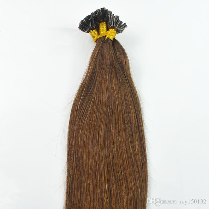 # 2 Darkest Brown u ponta extensão do cabelo 100g 100s pré ligado extensões de cabelo