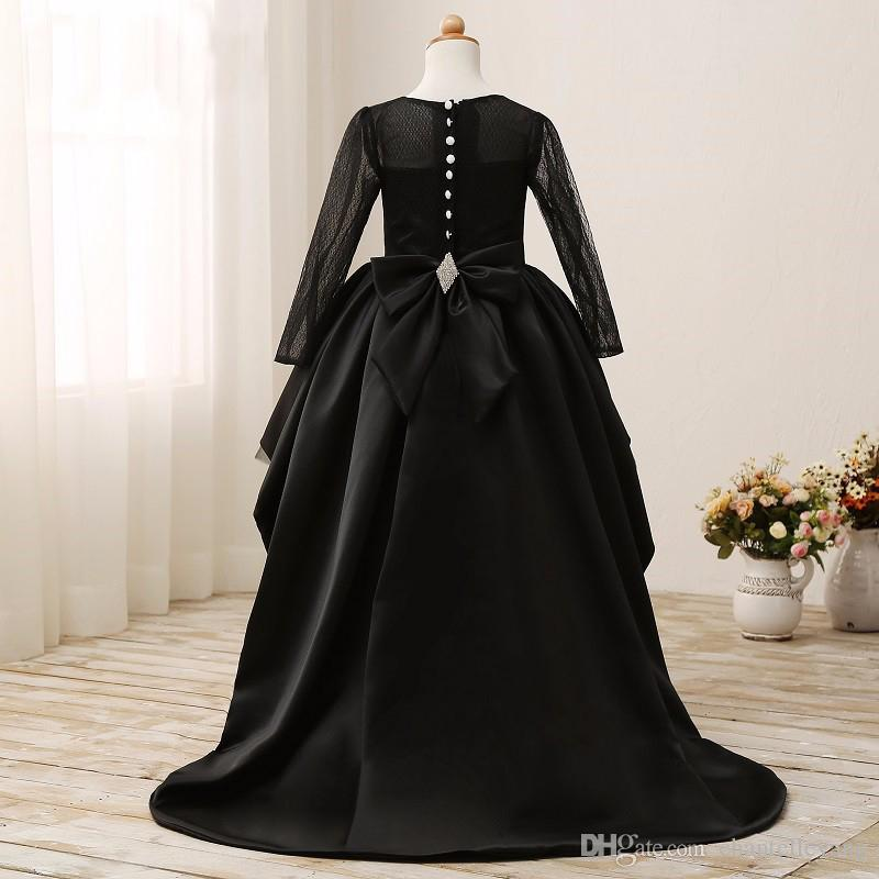 2016 Black Ball Gown Flower Girl Dresses High Low Scoop Long Sleeves Floor Length Satin Tulle Gowns for Kids Wedding Party Dresses Cupcake