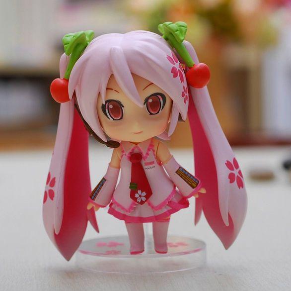 POPOToyFirm Cute 10cm Nendoroid Vocaloid Hatsune Miku Sakura Pink Set PVC Model Collection Toy Action Figure Anime Figure