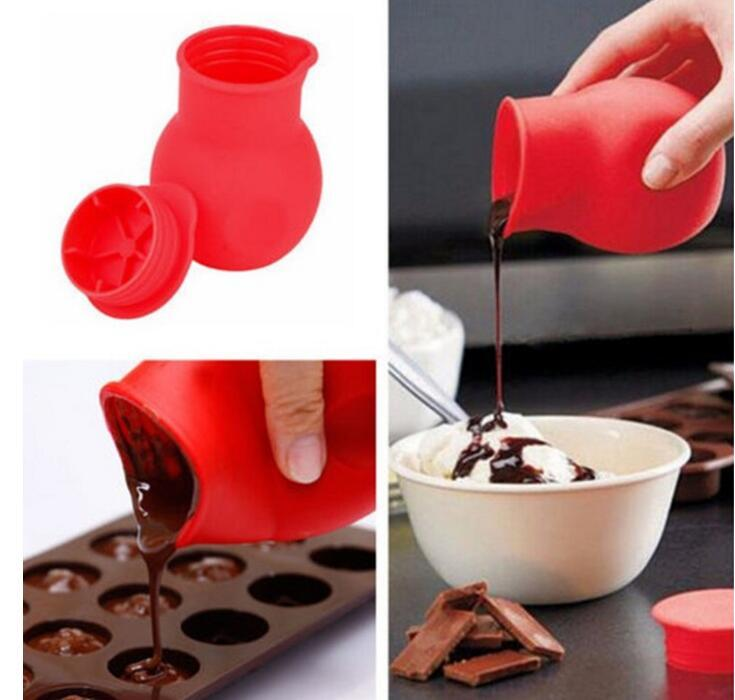 Practical Silicone Chocolate Pot Melting Mould Butter Sauce Milk Baking Pouring Liquid Holding Fresh Keeping Jars Bottles