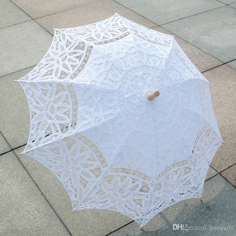 4d44c0741 2019 New Bridal Accessories Wedding Lace Parasol White Lace Umbrella  Victorian Lady Costume Accessory Bridal Party Decoration Photo Props From  Parasols, ...