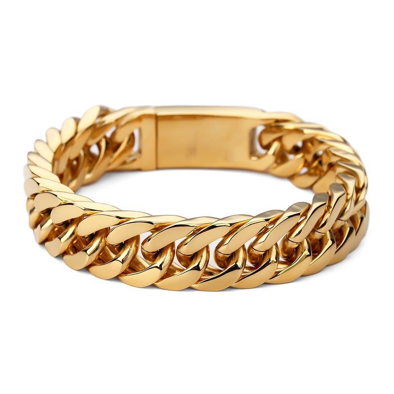 2018 Men Bracelets Gold Color 15mm Width Stainless Steel Bracelet ...