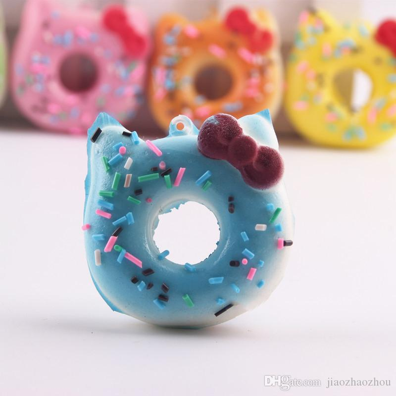 7cm squishies wholesale Super squishy jumbo kawaii rare hello kitty donut squishy with tags toy soft hand pillow Chain Phone