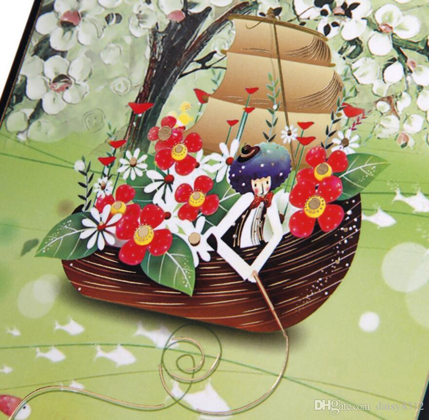 Colour Printing Sailing Handmade Kirigami Origami 3D Pop UP Greeting Cards Invitation card For Wedding Birthday Party Gift