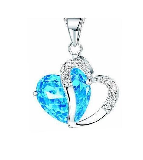 Pendentif amour en argent massif 925 avec améthyste et cristal, ajustement parfait, collier, bijoux, 18 couleurs