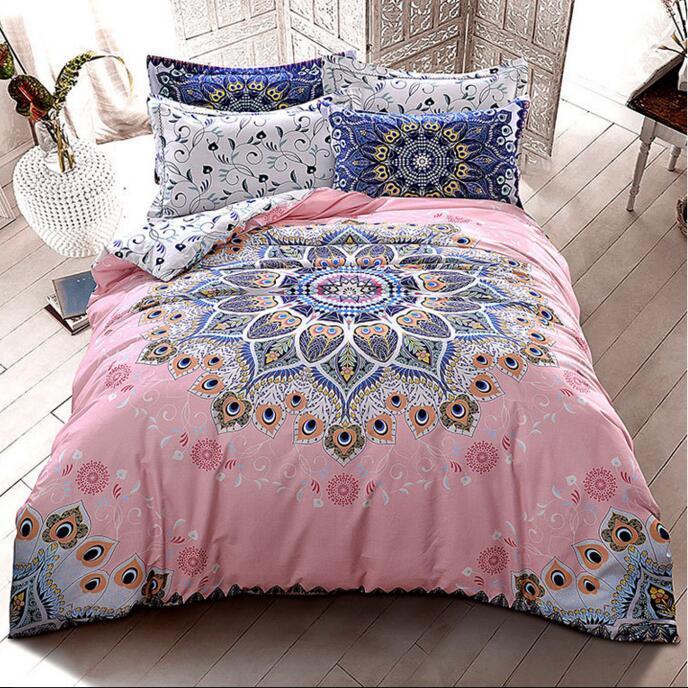 Literie géométrique de style de mandala de coton ponçage coton tissu Reine King taille housse de couette ensemble de literie