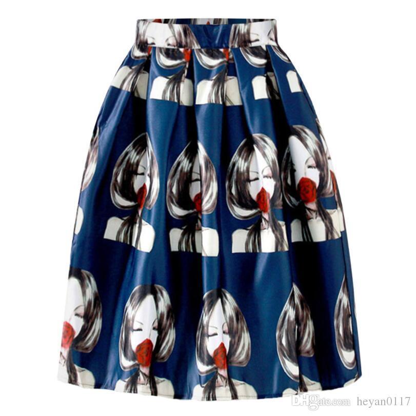 Vintage People Head Print Embroidery Pleated Midi Skirts 2017 Spring Empire Ball Gown Umbrella Skirts Saias