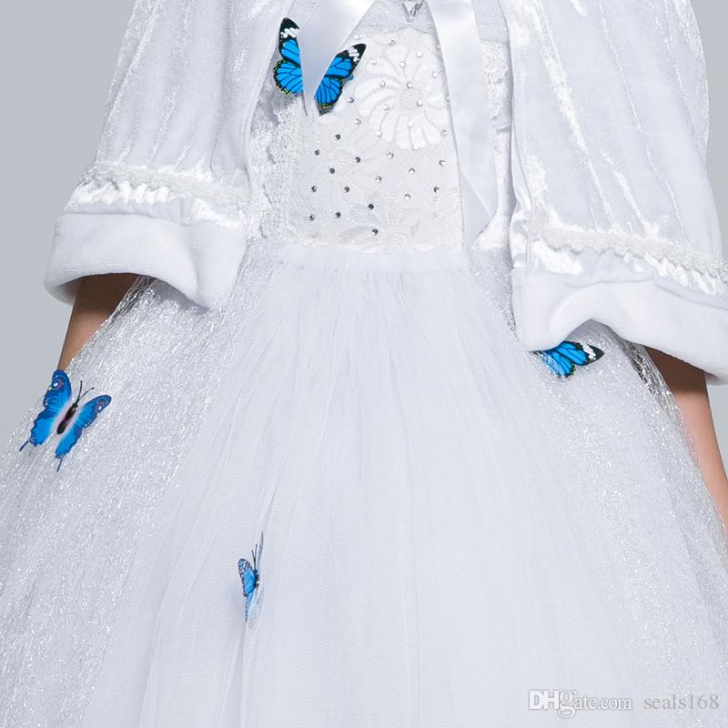 Girls Cinderella Princess Dress New Sleeping Beauty Butterfly Cosplay Party Dress For Children Kids Easter Halloween Xmas Clothing PX-D23