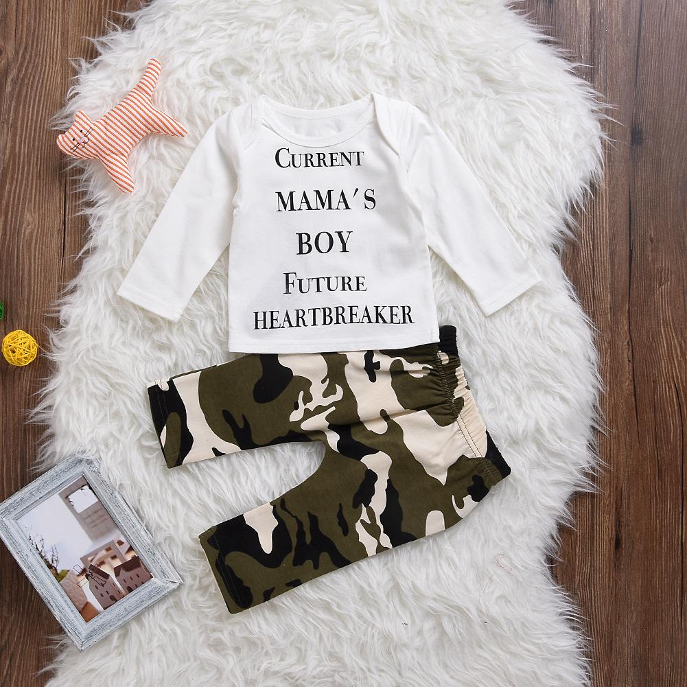 INS New cute Baby Boys Outfits Summer Autumn Sets Boy Cotton Tops Shirts + Harem Pants Current Mama's boy future Heartbreaker