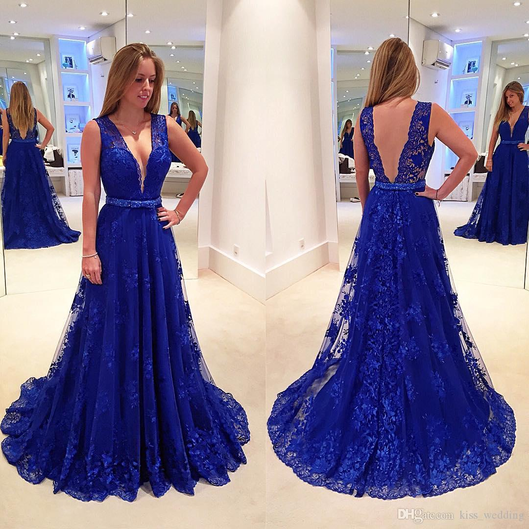 Beige and royal blue lace dress long length