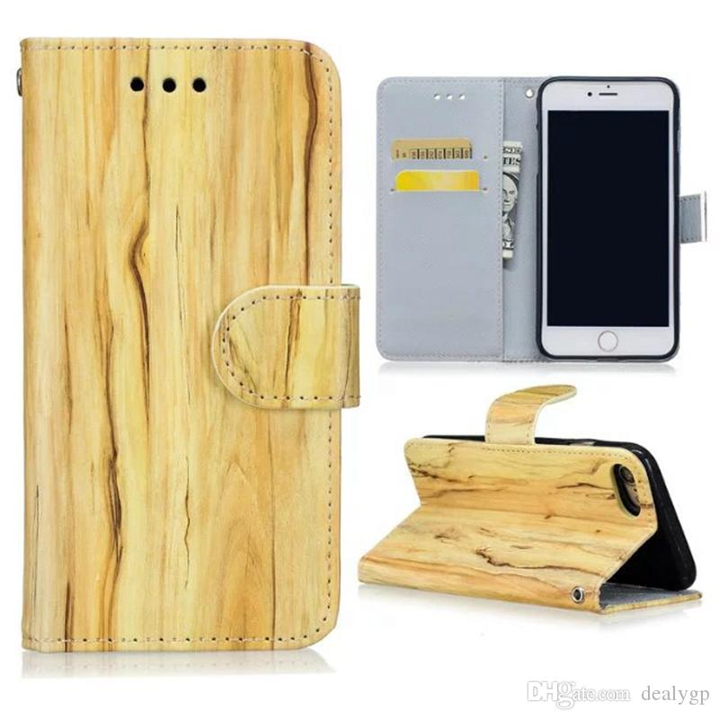 For iPhone 7 / 7 Plus / 6S / 6 plus Wood Grain Flip Stand Leather Wallet Case Phone Cover Folio with Card Slots Holder