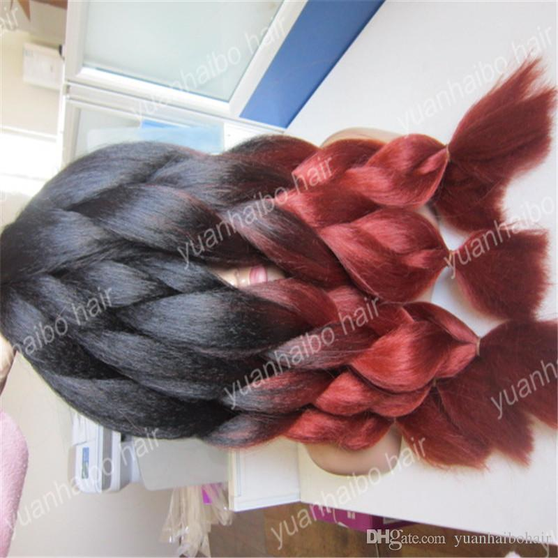 Hot sale 20inch two tone synthetic jumbo braid kinky ombre braiding hair for women