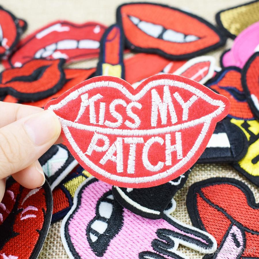 Random Diy Lips kiss teeth patches for clothing iron embroidered kiss patch applique iron on patches sewing accessories badge