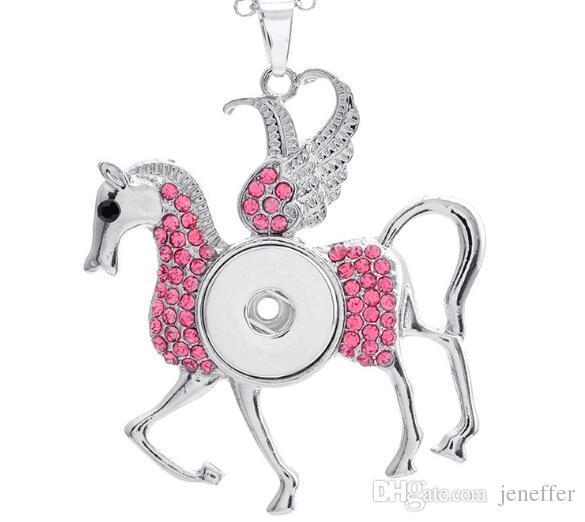 Sweet Eyes Cavalo ganso com strass multi cor noosa colar de pingente de botão de pressão pingente fit 18mm charme jóias diy acessórios