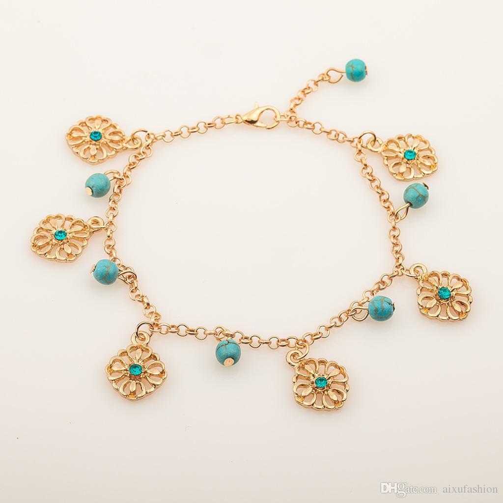 Turquesa pulseras brazalete de moda Retro conjuntos de dos piezas aleación brazalete hueco colgantes de la flor de cuentas de cuentas nuevos 2017