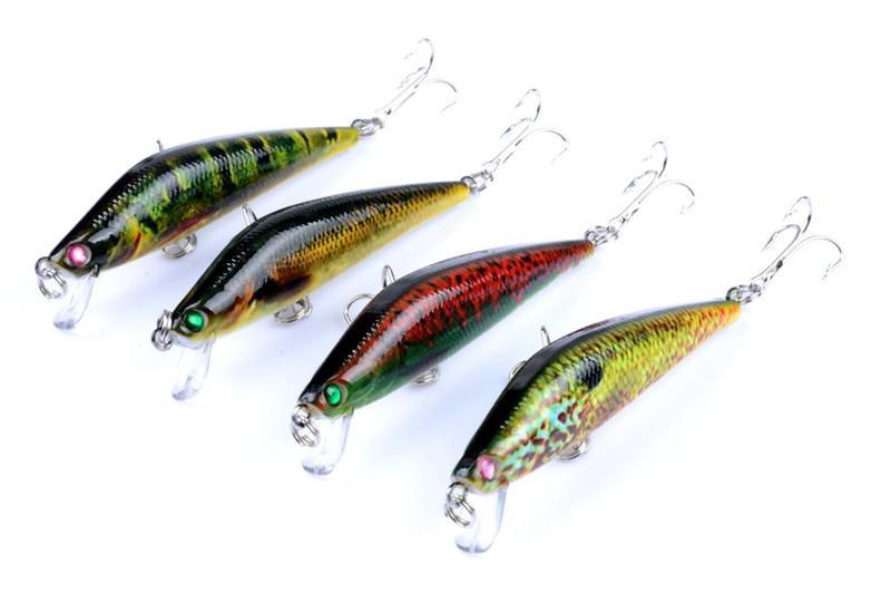 Renkli Boyalı Lazer Minnow Krank Rattlin cazibesi 8 cm 8.2g Fly balıkçılık simülasyon Balık swimbaits kanca yem