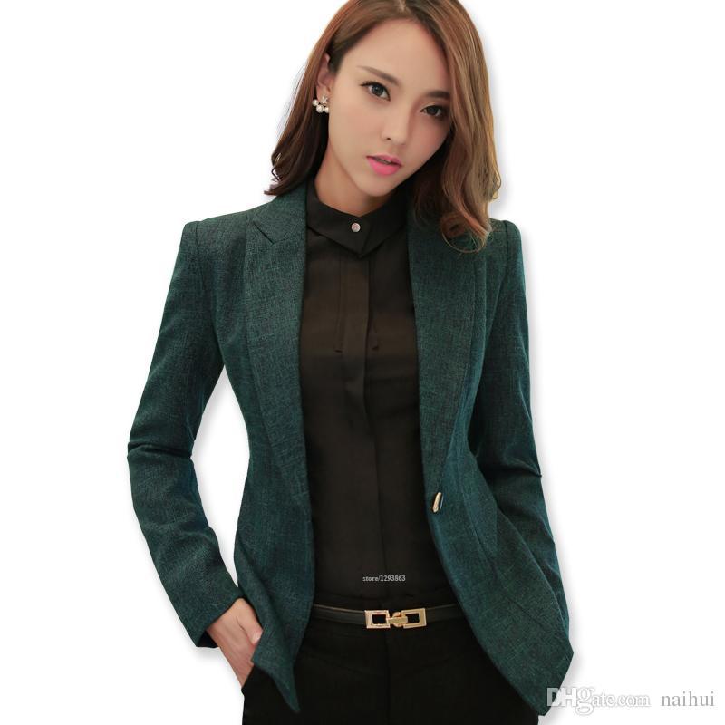 Soft Cotton Jacket Fashion Green Women Blazer Casual Wear ...