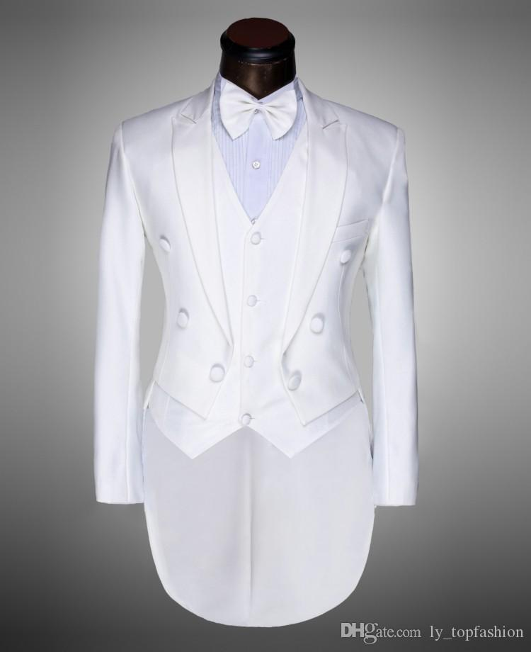 + calça + Vest + Bow Tie casaco 2020 homens da forma Suits Tailcoat smoking Prom Groom Wedding Branco Preto Slim Fit Cantor