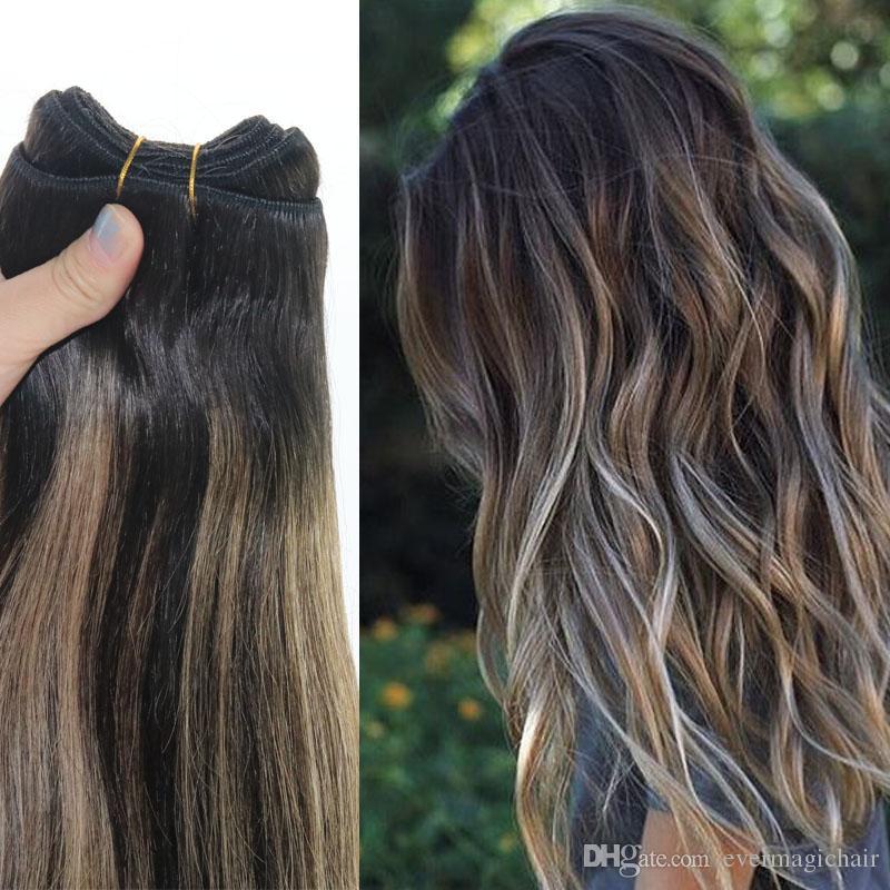 İnsan Saç Dokuma Ombre Boya Renk Brezilyalı Bakire Saç Atkı Paket Uzantıları Balayage Iki Ton 2 # Kahverengi # 27 Sarışın