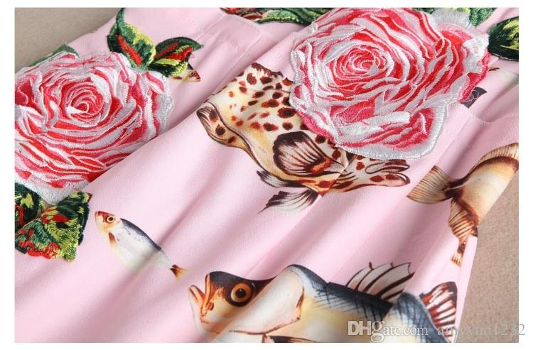 2017 primavera rosa / bianco maniche corte seta pesce rose stampa abito lungo donne marchio stesso stile abiti da festa 110605
