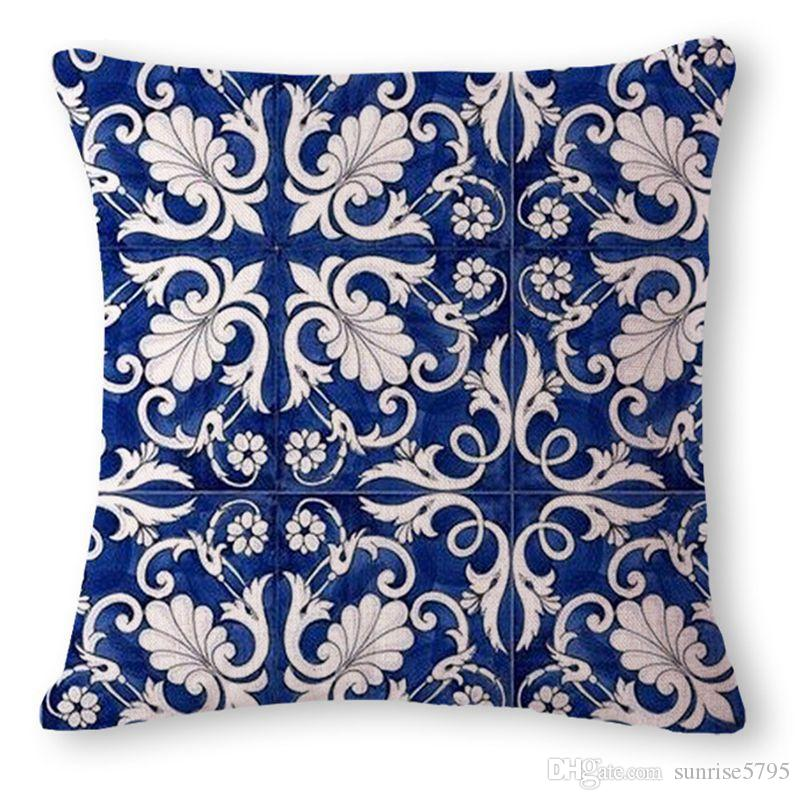 decorativi rivestimenti cinese porcellana blu federa divano chaise tiro epoca almofada etnica Cojines fenice