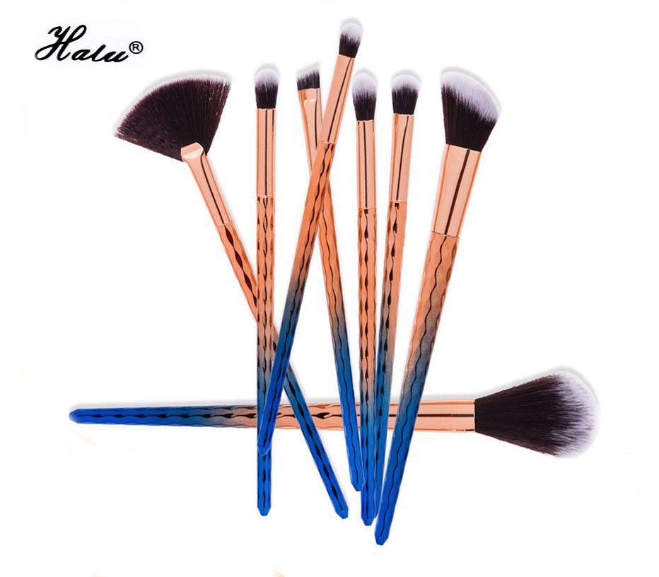 Halu Mermaid Brush Set Mix Poisson Bleu Pinceau Poignée Maquillage Pinceaux Kit Maquillage Maquiagem Fard À Paupières Blush Cosmeitc