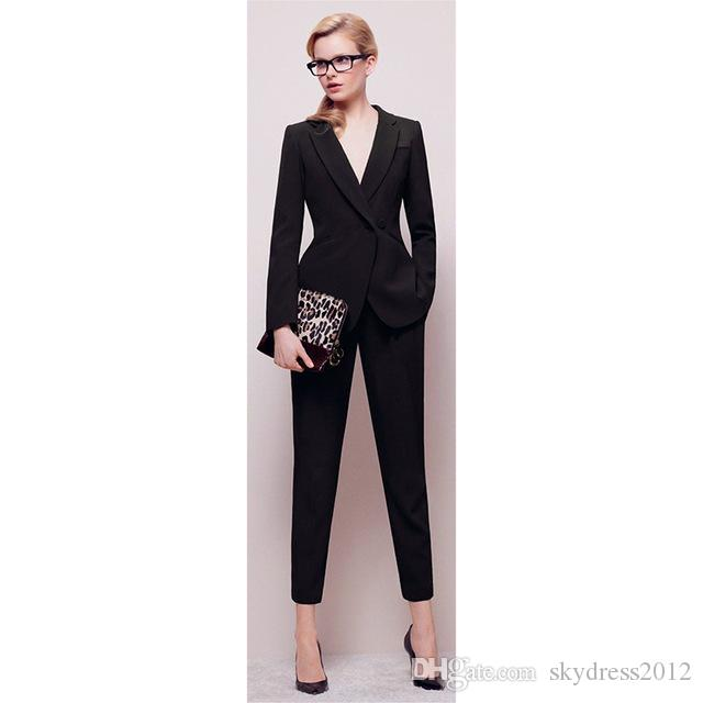 Jacket+Pants Womens BusinessABC Suit Black Long Sleeves Female Office Uniform Ladies Formal Trouser Sets Double Breasted