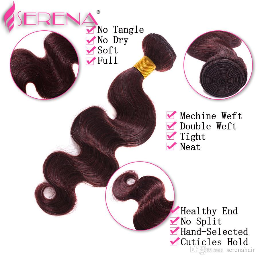 Ombre Weave Hair Bundle Colorful tone Color 99J Burgundy Wine Red Unprocessed Body wave Brazilian Peruvian Indian Ombre Human hair extension