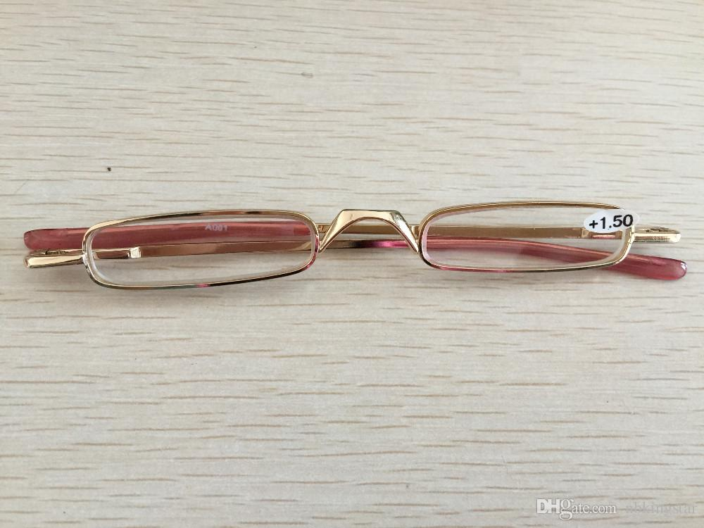 Yüksek Kalite Ultra İnce Trim Okuma Gözlükleri Altın Döşeme Sert Tüp Kasa Metal Mini Tüp Okuyucu Gücü +1.0 +1.5 +2.0 +2.5 +3.0 +3.5
