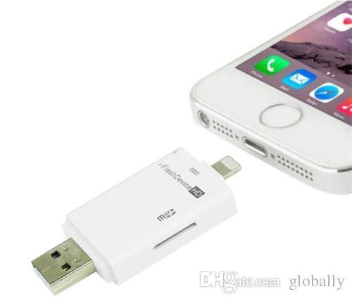 I Lecteur de périphérique Flash USB PC Phone Lecteur de carte Micro SD / TF pour iPhone 6 6S 7 Plus 5 5S Pour iPad Pro 4 5 6 Mini 2 3 Air 2 DHL gratuit