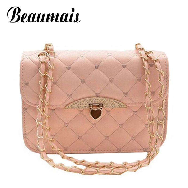 9e70b5ff66f Wholesale-Beaumais Hot selling evening bag Peach Heart women handbag chain  shoulder bag brand women messenger bags fashion women bag JA081