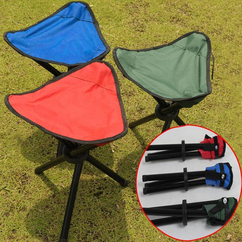 Wholesale- New Portable Camping Hiking Folding Foldable Stool Tripod Chair Seat For Fishing Festival Picnic BBQ Beach random color