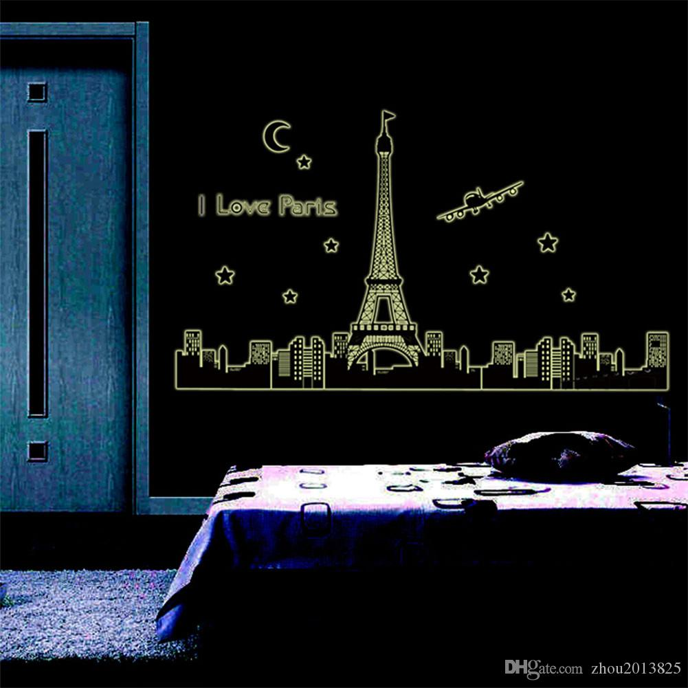 Night Sky Eiffel Tower Moon Star City Building Beautiful View Of Paris Noctilucent Diy Wall Wallpaper Stickers Art Decor Mural Room Decal For Walls