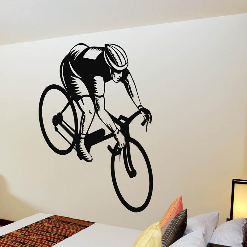 wall decals vinyl decal sticker murals gym decor sport boy cycling
