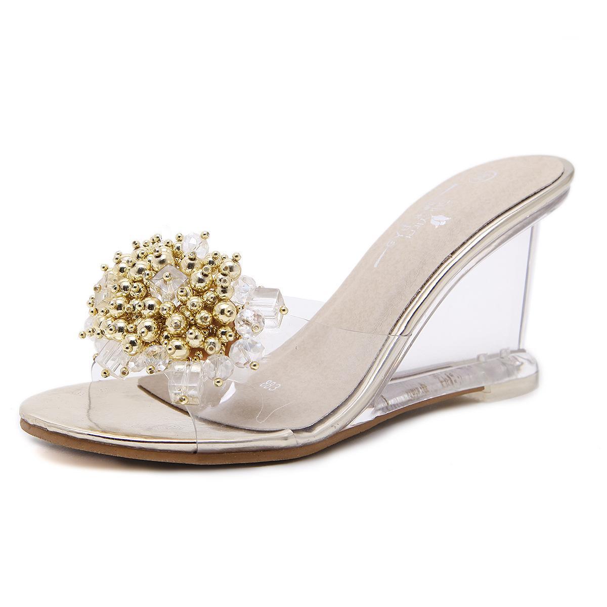Crystal Women Sandals Sandalias Feminina 8.5cm High Heels Summer Women  Shoes Transparent Beads Sexy Girls Sandals Zapatos Mujer Tan Wedges Fringe  Sandals ... 2b492cd6171d