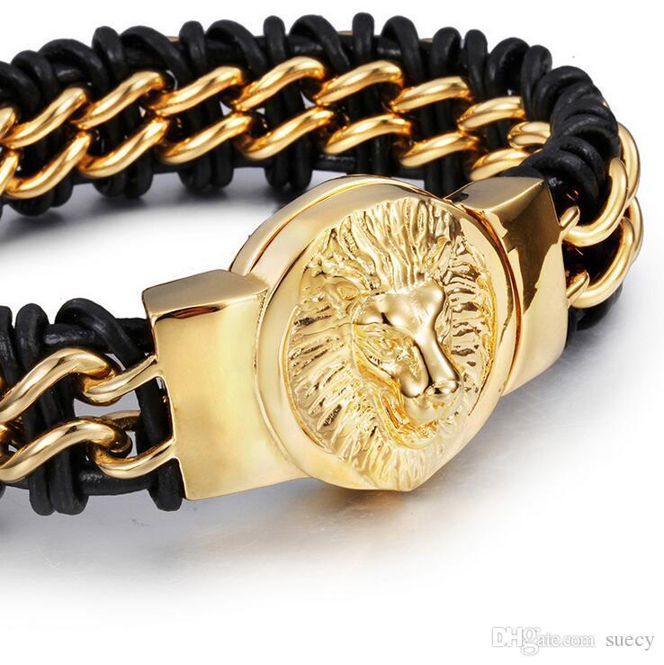 22 * 1.7 см прохладный Серебряный лев голову браслет мужчины натуральная кожа титана стальные браслеты мода 18 К золото из нержавеющей стали животных браслет ювелирных изделий