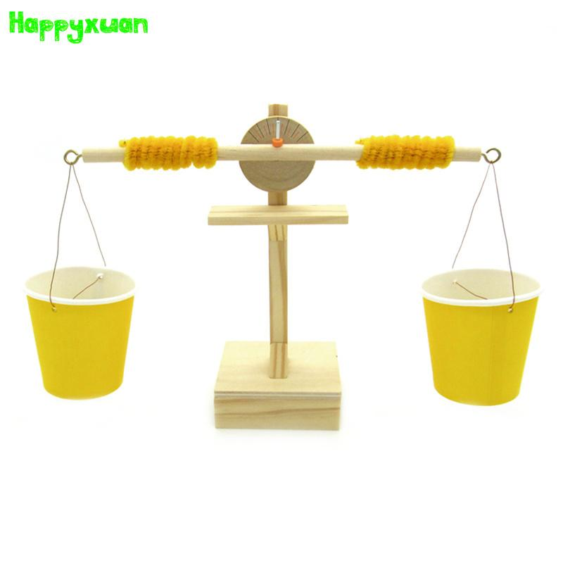 Happyxuan DIY Wooden Balance Science Experiment Invented Assembly Materials Toys Children Learning Education Model Kits