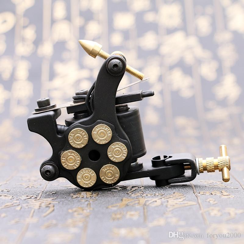 Wholesale- New Design Tattoo Machine 10 Wrap Coils Tattoo Gun Black Bullet Design for Shader TM2381