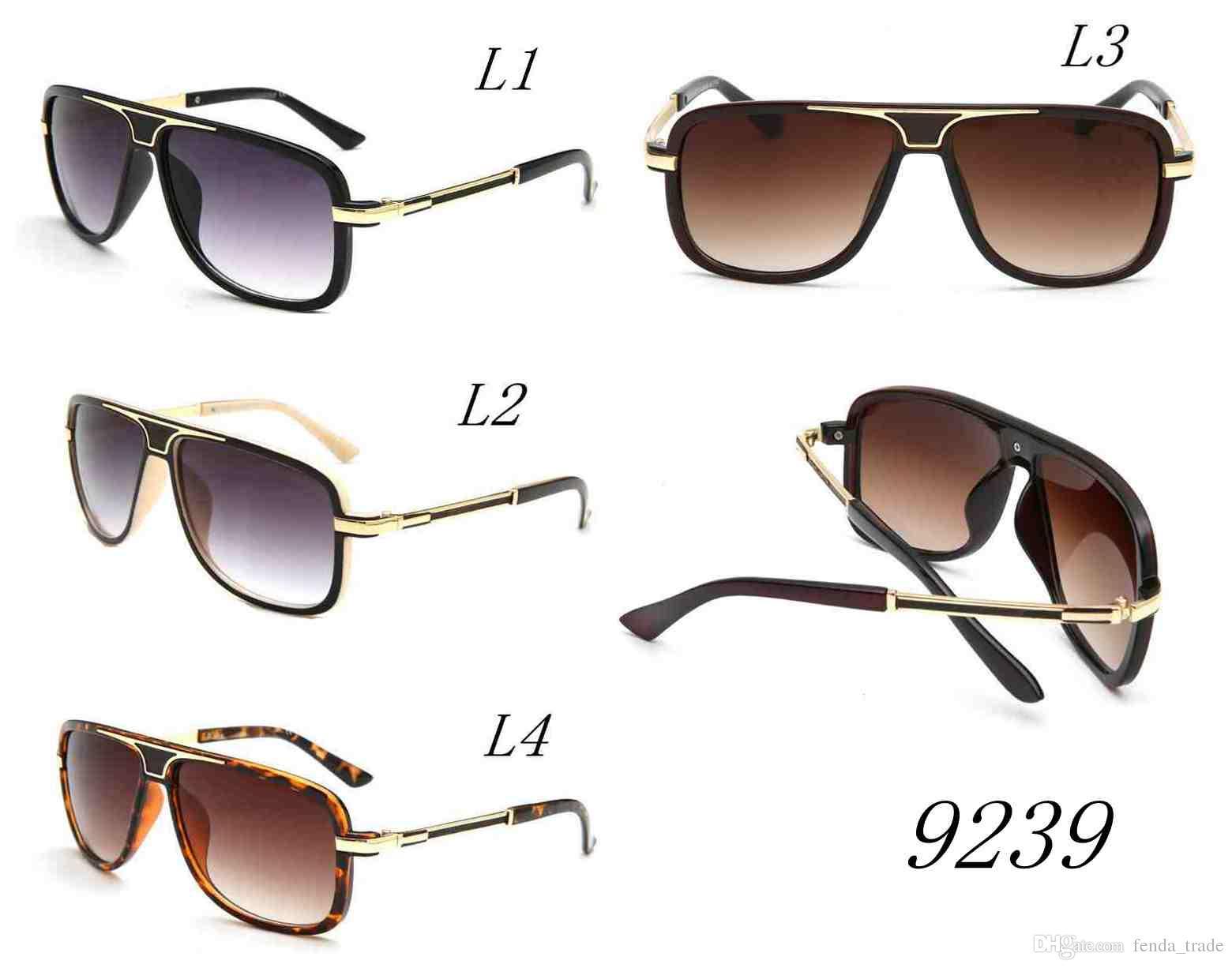 Die Neue Männer frauen GESICHT Sonnenbrille 9239 Mode Große Metallrahmen Sonnenbrille UV400 Männer Brillen Top Qualität A + + + MOQ = 10