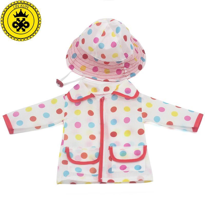 Baby Born Zapf vestiti le bambole colore Dot Pattern bambino impermeabile + cappello vestito bambola vestiti misura 43 cm e 17-18 pollici accessori bambola 503