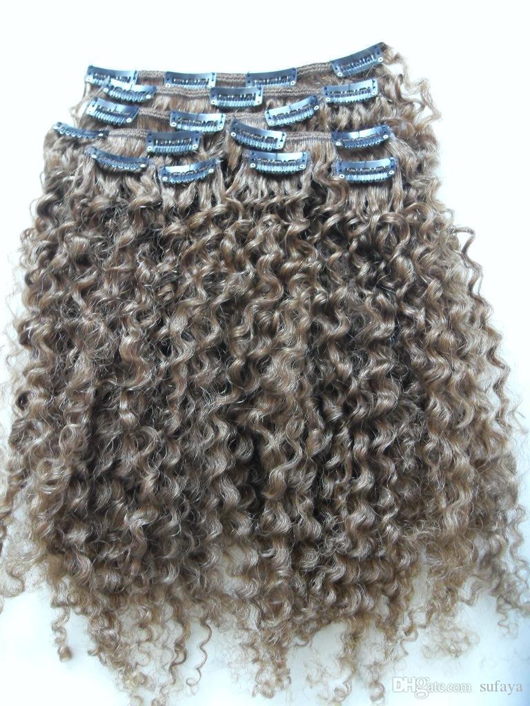 бразильское человеческого Remy девственница клип аудиовходы наращивание волос кудрявых кудри волосы уток Медуме коричневый 4 # цвета
