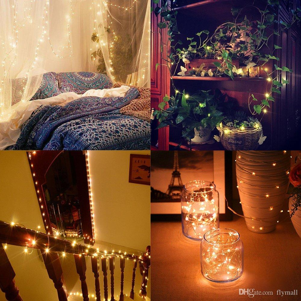 2M 20LEDs led string CR2032 Battery Operated Micro Mini Light Copper Silver Wire Starry LED Strips Fairy String Lights Christmas Party Decor