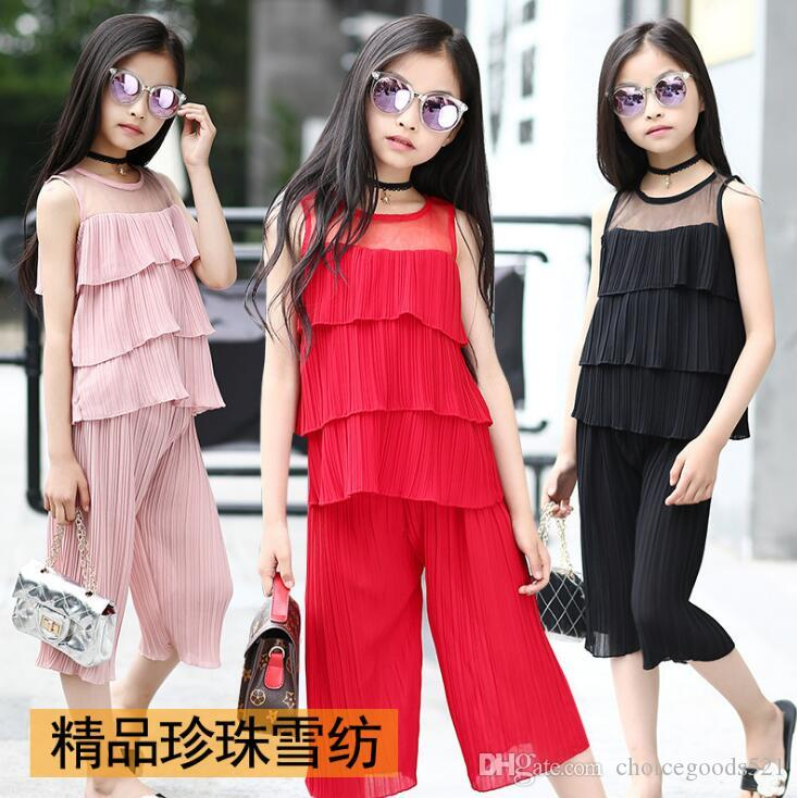 01cbc3c8b8c 2019 Big Girl Clothing Summer Girl Top+Pants Sets Girl Chiffon Clothes Suit Girls  Summer Outerwear For 8~16 Year Kids From Choicegoods521