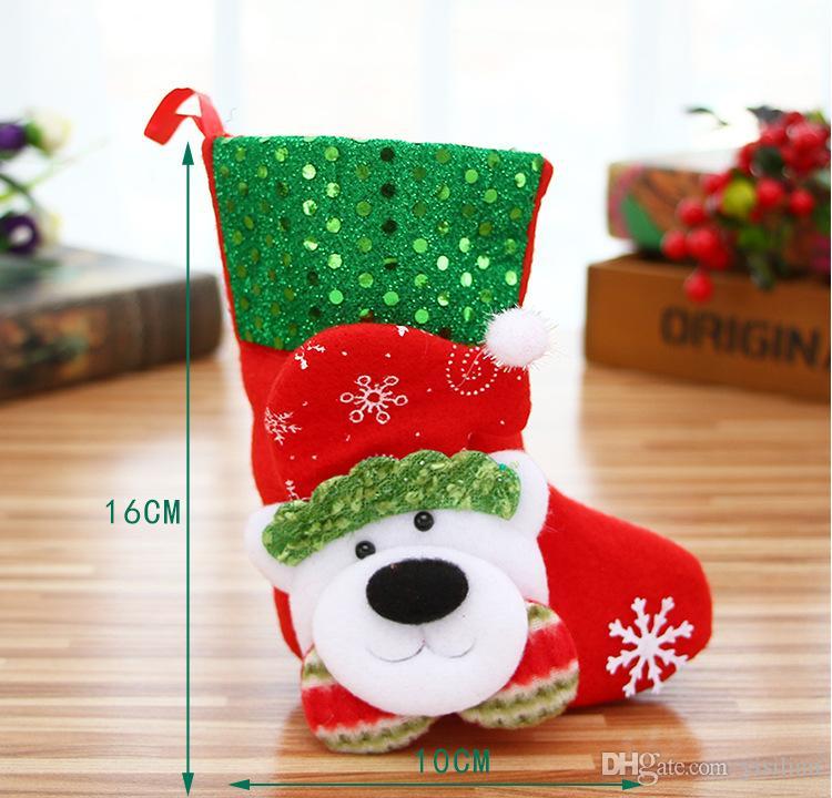 Venta caliente calcetines de navidad árbol de navidad adornos viejos ciervos del muñeco de nieve oso calcetines de Navidad C004 orden de la mezcla