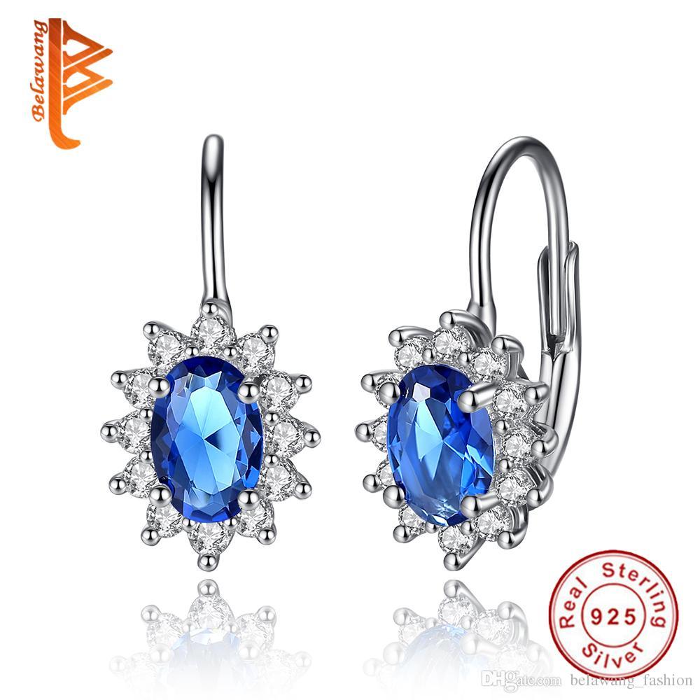 2166da639 2019 BELAWANG Natural Ocean Blue Austrian Crystal Stud Earrings Engagement  Jewelry 925 Sterling Silver Love Women Earrings Wedding Party Gift From ...