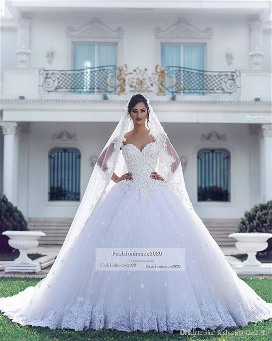 Arabic Luxury Lace Ball Gown Wedding Dresses Applique 3D Flowers Court Train Beaded Plus Size Puffy Backless Tulle Bridal Gowns Cheap Custom