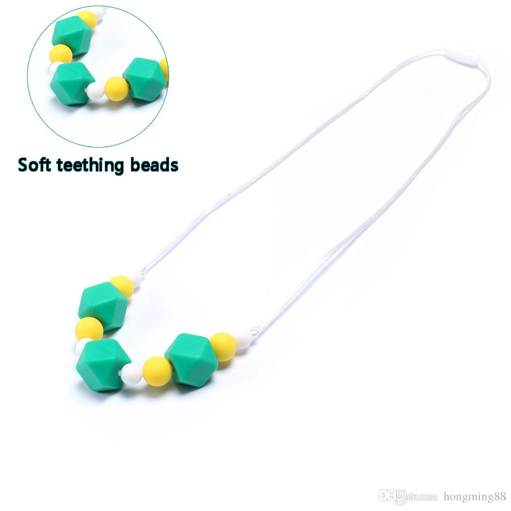 Newest 70CM 100% BPA Free Food Grade Silicone Baby Chew Beads Teething Necklace Wholesale Nursing Jewelry Teether for Mom Mommy to Wear